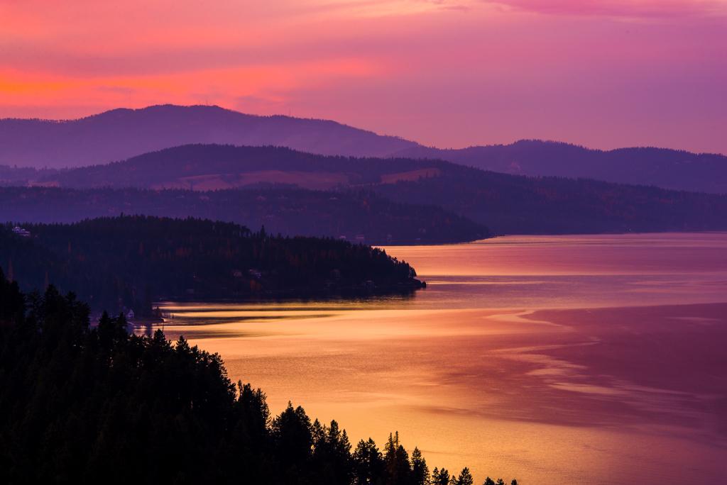Romantic Sunset on Lake Coeur d'Alene